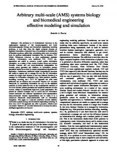 systems biology and biomedical engineering effective modeling and
