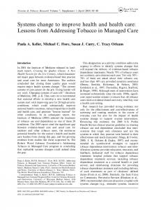 Systems change to improve health and health care: Lessons from ...