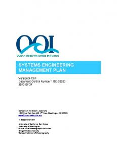 systems engineering management plan - Consortium for Ocean ...