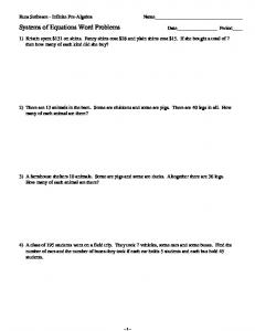 Systems Word Problems - Kuta Software