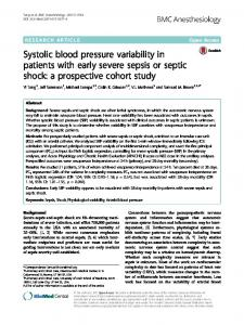 Systolic blood pressure variability in patients with early severe sepsis