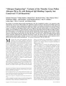 T Cell Reactivity Reduced IgE-Binding Capacity but Conserved ...