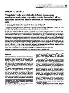 T-regulatory cells are relatively deficient in squamous ...