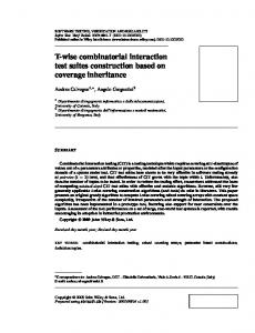 T-wise combinatorial interaction test suites construction based on ...