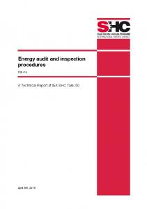 T50 C.4 Energy audit and inspection procedures - IEA SHC || Task 50