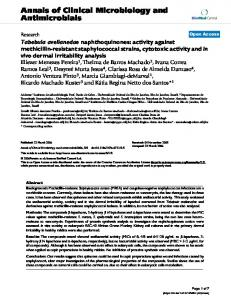 Tabebuia avellanedae naphthoquinones: activity against methicillin ...