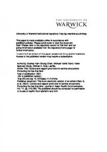 Table 1 - Warwick WRAP - University of Warwick