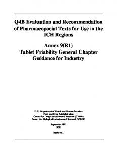Tablet Friability General Chapter - Food and Drug Administration