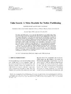 Tabu Search: A Meta Heuristic for Netlist Partitioning - Semantic Scholar