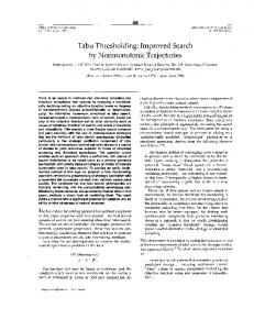 Tabu Thresholding: Improved Search by