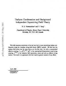 Tachyon Condensation and Background Independent Superstring ...