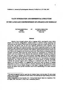 tacit integration and referential structure in the language ... - Cogprints