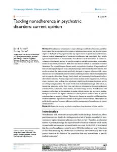 Tackling nonadherence in psychiatric disorders ... - BioMedSearch