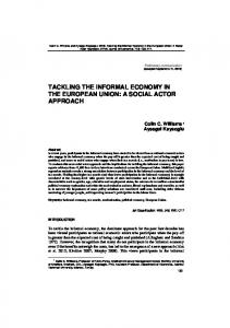 tackling the informal economy in the european union: a social actor ...