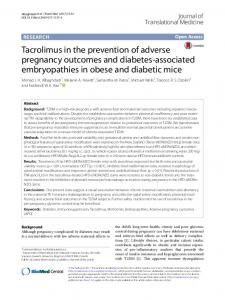 Tacrolimus in the prevention of adverse pregnancy outcomes ... - Core