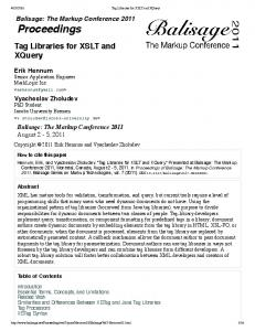 Tag Libraries for XSLT and XQuery