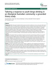 Tailoring a response to youth binge drinking in an Aboriginal ...