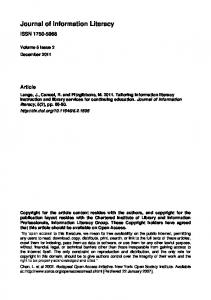 Tailoring information literacy instruction and library services ... - Journals
