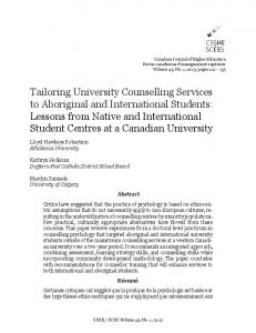 Tailoring University Counselling Services to Aboriginal and ...