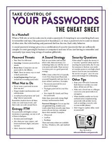 Take Control of Your Passwords Cheat Sheet (1.0)