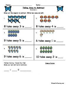 Taking Away to Subtract - SPA12