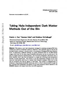 Taking Halo-Independent Dark Matter Methods Out of the ... - CiteSeerX