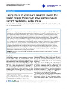 Taking stock of Myanmars progress toward the health-related ...