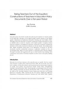 Taking Teachers Out of the Equation: Constructions of Teachers ... - Eric