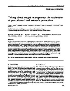 Talking about weight in pregnancy: An exploration of ... - Sciedu Press