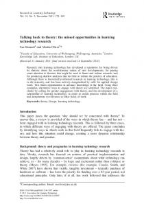 Talking back to theory: the missed opportunities in learning technology ...