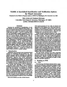 TAME: A Specialized Speci cation and Veri cation ... - Semantic Scholar