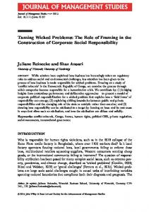 Taming Wicked Problems: The Role of Framing in the ...