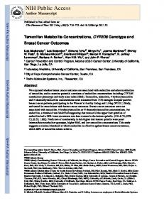 Tamoxifen metabolite concentrations CYP2D6 and breast cancer ...