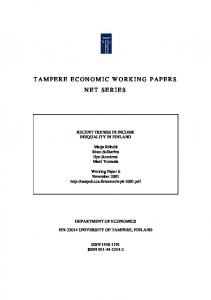 tampere economic working papers net series - TamPub