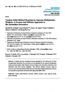 Tandem Aldol-Michael Reactions in Aqueous ... - CiteSeerX