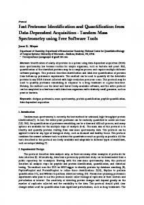 Tandem Mass Spectrometry using Free Software T