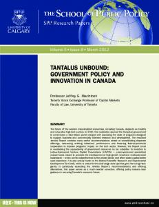 tantalus unbound: government policy and ... - School of Public Policy