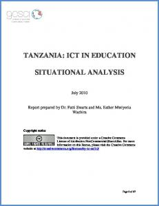 TANZANIA: ICT IN EDUCATION SITUATIONAL ANALYSIS
