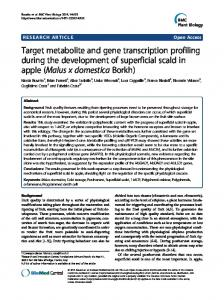 Target metabolite and gene transcription profiling during the ...