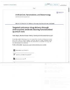 Targeted anticancer drug delivery through anthracycline antibiotic ...