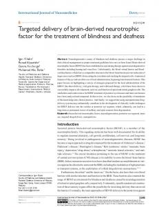 Targeted delivery of brain-derived neurotrophic factor for the treatment ...