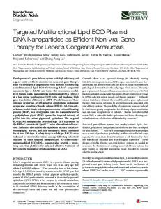 Targeted Multifunctional Lipid ECO Plasmid DNA Nanoparticles as