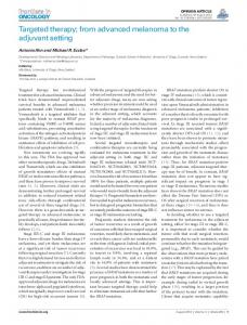 Targeted therapy; from advanced melanoma to the ... - Semantic Scholar