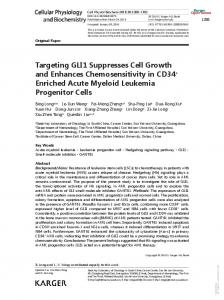 Targeting GLI1 Suppresses Cell Growth and ...