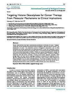 Targeting Histone Deacetylases for Cancer Therapy - International ...