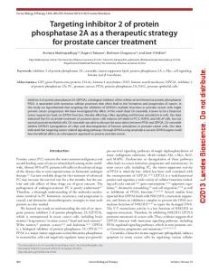 Targeting inhibitor 2 of protein phosphatase 2A as a therapeutic ...