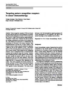 Targeting pattern recognition receptors in cancer immunotherapy ...