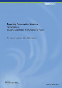 Targeting Preventative Services for Children - Bristol University