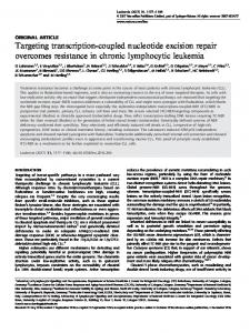 Targeting transcription-coupled nucleotide excision repair ... - Nature