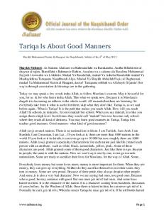 Tariqa Is About Good Manners